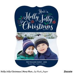 Holly Jolly Christmas | Navy Photo Card Greeting