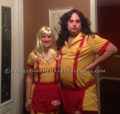 Two Broke Girls - For our annual Halloween party, my husband and I decided to dress in a couples' costume. We love the show 2 Broke Girls so I began researching. I fou. Dad Halloween Costumes, Couple Halloween Costumes, Halloween Party, Halloween Treats, Happy Halloween, Halloween Decorations, Theatre Costumes, Girl Costumes, Costume Ideas
