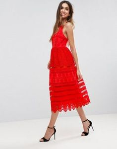 ASOS PREMIUM Broderie Midi Prom Dress with Low Back