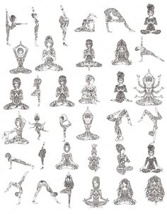 Set 35 YOGA Poses. Vector by anvino on Creative Market