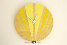 Danes – zegar drewniany 40cm (SILENT) Kallax, Wooden Clock, Wooden Walls, Wall Clock Hands, Wood Oil, Hand Painted, Etsy, Handmade, Painting