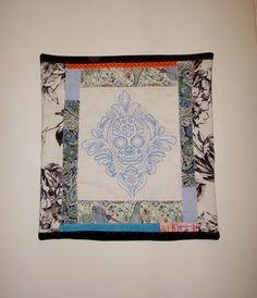 Sugar Skull Pillow Cover  Shades of Blue  Colorful by KarenHeenan, $40.00 - SOLD