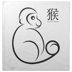 Chinese New Year Monkey Line Art Printed Napkin