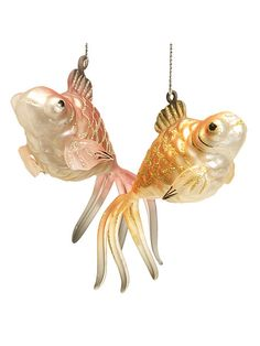 Set of 2 Glass Fantail Feng Shui Goldfish Christmas Ornaments