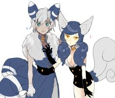 Female and male Meowstic gijinkas (Pokemon)