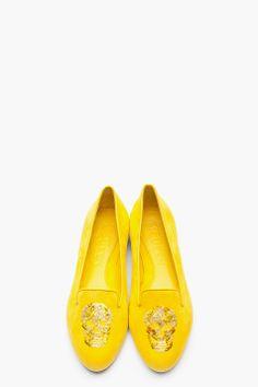 ALEXANDER MCQUEEN Yellow suede Sequined Skull Loafers