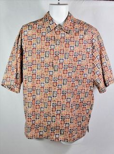 TravelSmith Men's Cotton Lawn Shirt Size Large Leaf Block Print Orange Blue Red | Clothing, Shoes & Accessories, Men's Clothing, Casual Shirts | eBay!