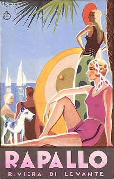 """RIVIERA TERRIER : Wire haired Fox Terriers pop up every where in vintage promos and advertising! This travel brochure is from 1932,  signed """"F. Romoli."""" Published by the ENIT (Italian State Tourist Department).  Printed by Barabino & Graeve - Genova."""