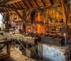 A late 19th century carpenter's workshop with its original tools. Now in the Weald and Downland Museum. by Anguskirk, via Flickr