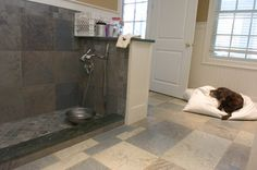 Dog wash station in or near mudroom with hot water hook up. No muddy paws in my house!