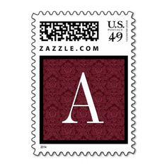 Burgundy Damask Monogram Wedding Stamp