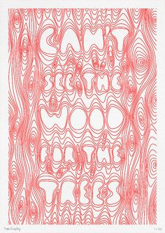 Can't See The Trees For The Wood - limited edition riso print by Tim Easley