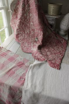 Antique Vintage French fabric pink 18th century FADED timeworn PROJECT BUNDLE