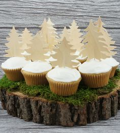 birch forest cupcake toppers