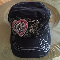 ✌️Peace & Heart sign Newsboy Hat Black with peace sign & heart with pink thread embellished with rhinestones, & glitter! Wear shown is from the manufacturer. KB Ethos Accessories Hats