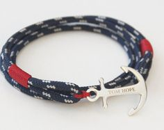 The Atlantic 3 is the classic Tom Hope look - a timeless design that combines a versatile blue trim line, bright red whipping twine details and the signature sterling anchor. The Atlantic 3 is handcrafted to perfection in the southernmost point of Sweden. Handmade Jewelry, Unique Jewelry, Handmade Gifts, Mode Style, Toms, Best Gifts, Fashion Accessories, Jewels, Personalized Items