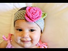 Crochet Glama's Stretchy Rose Headband - YouTube