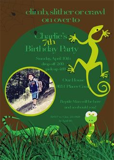 Reptile Birthday Party Invitations printable by PartyPopInvites