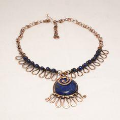 lapis lazuli necklace, unique necklaces for women, lapis lazuli jewelry, copper boho wedding necklace, statement necklace by BeyhanAkman on Etsy Copper Wire Jewelry, Wire Jewelry Designs, Gemstone Jewelry, Handmade Bracelets, Earrings Handmade, Handmade Jewelry, Lapis Lazuli Jewelry, Wire Wrapped Necklace, Unique Necklaces