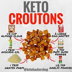 KETO CROUTONS Here is a delicious recipe for Keto Croutons b - Brandon Carter media photos videos Low Carb Meal, Keto Meal Plan, Diet Meal Plans, Ketogenic Recipes, Low Carb Recipes, Cooking Recipes, Bread Recipes, Cetogenic Diet, Diet Foods