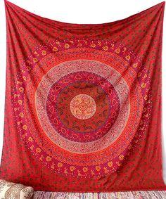 ROJO Floral Mandala tapiz tela Hippie Boho cama por FabricSarmaya