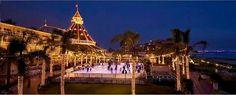 The Del Coronado Hotel at Christmas and their ice skating rink.