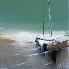 Les deux voiliers... (Painting),  20x2x20 cm by Olivier Messas