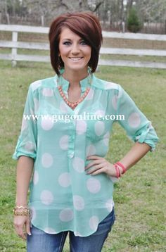 Giddy Up Glamour  $32.95  Never Too Minnie Mint Dot Top