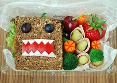 The easiest bento box art idea: A Monster Sandwich. Even we could do this.  | Sheri Chen at Happy Little Bento