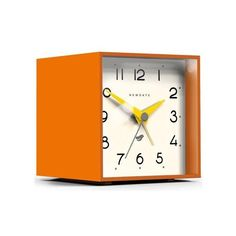 NEWGATE Retro 1960s Mod Space Age Cubic II Alarm Clock in Pumpkin (63 AUD) ❤ liked on Polyvore featuring home, home decor, clocks, pumpkin home decor, newgate clocks, square clock, newgate alarm clock and newgate