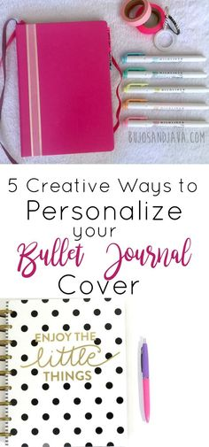 5 Creative Ways to Personalize Your Bullet Journal Cover ⋆ The Petite Planner Bullet Journal Cover Page, Bullet Journal How To Start A, Bullet Journal Layout, Journal Covers, Bullet Journal Inspiration, Bullet Journals, Journal Ideas, Notebook Covers, Journal Prompts