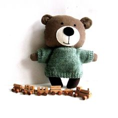 "Stuffed bear stuffed animal rag doll toy brown green hand knitted sweater 25 cm 9.8"" #handmadebear #doll"