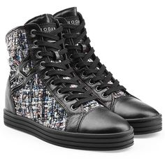 Hogan Rebel Leather High-Top Sneakers ($275) ❤ liked on Polyvore featuring shoes, sneakers, multicolor, high top sneakers, black hi tops, colorful high top sneakers, black hi top sneakers and hi tops
