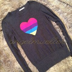 """Rainbow heart gray sweater This lighter sweater material is complete with it's beautiful rainbow heart on the chest. Length: 26"""", bust: 18.5"""", sleeve length: 27"""", perfect condition. This item is used and may have imperfections. Old Navy Sweaters Crew & Scoop Necks"""