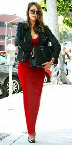 Long red sheath dress