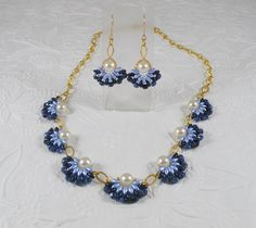 Woven Flower Necklace and Earrings Set in Denim by IndulgedGirl