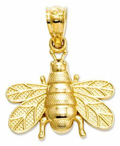 14k Charm, Polished and Satin Bee Charm - Jewelry & Watches - Macy's