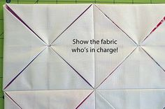 For Perfect Cathedral Windows:                                                          Take just 2-3 stitches into each point. This anchors your points for a centered and even end product. Thank-you Angela Nash via Moda Bake Shop. <3 <3 <3 <3 <3