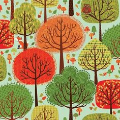 think dress fabric.Forest Friends Andover Makower Fabric Multi Color Trees on Aqua Blue Sky Fabric Tree, Andover Fabrics, Forest Friends, Cotton Quilting Fabric, Wool Applique, Woodland Creatures, Forest Animals, Woodland Animals, Pretty And Cute