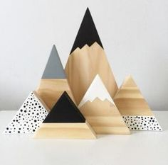 Our gorgeous new monochrome spotty mountain set is the perfect accent for that or side table. This set is professionally cut, sanded,. Wood Crafts, Diy And Crafts, Kids Crafts, Wood Projects, Craft Projects, Ideias Diy, Wood Toys, Wooden Blocks Toys, Kids Decor