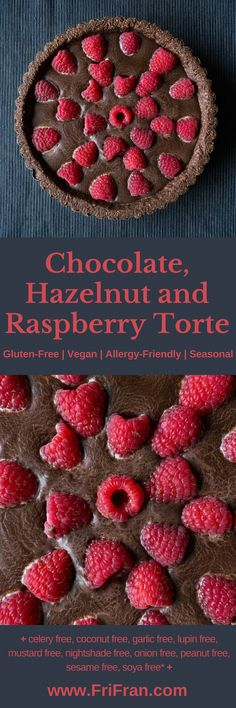 This #Chocolate, Hazelnut and Raspberry Torte is amazing. Simple, effective and... no need to put the oven on. It is no bake! Of course, it is... #GlutenFree and #Vegan too. #AllergyFriendly #Seasonal #CoconutFree #FriFran #GlutenFreeVegan