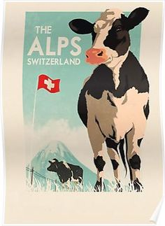 Vintage Swiss Posters - Vintage The Alps of Switzerland. Vintage Ski, Vintage Travel Posters, Vintage Pink, Old Poster, Plakat Design, Tourism Poster, Ski Posters, Travel Ads, Travel Photos