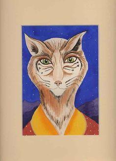 Original Watercolor of Bob Cat 2. $25.00, via Etsy.