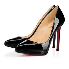 """""""Pigalle Plato"""" is our iconic """"Pigalle"""" revisited. With the addition of a slender platform, she maintains every bit of the sultriness of her namesake, while offering a touch more support from below. This gorgeous 120mm black patent leather version will become a staple in your red sole collection."""