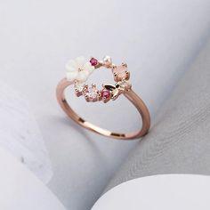 Rose Gold Flower Ring, Wedding Rings Rose Gold, Wedding Rings For Women, Flower Rings, Rose Gold Rings, Engagement Rings For Women, Rose Gold Moonstone Ring, Rose Gold Promise Ring, Gold Finger Rings