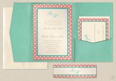 Aqua and Coral Pocket Wedding Invitation Sample Set - Coral and Aqua Modern Geometric Pocketfold Invitation. $5.30, via Etsy.