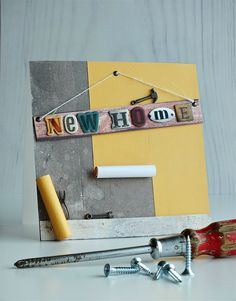 Got a friend who's moved house recently? Craft them a cool congratulatory card with the help of Mr Smith's Workshop. Welcome Home Cards, New Home Cards, Cool Cards, Diy Cards, Craft Cards, Card Crafts, Card Making Inspiration, Making Ideas, Housewarming Card