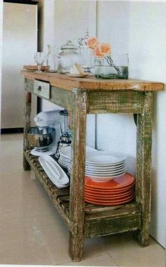 Mueble rústico tipo isla para cocina.                                                                                                                                                      Más Kitchen Cart, Vintage Industrial, Vintage Home Decor, Sweet Home, Dining, Furniture, Apartment Ideas, Pallets, Ideas Para