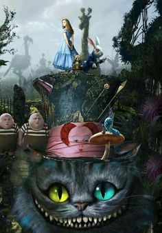 """""""Alice in Wonderland"""" . Director by Tim Burton. This film is about a girl, Alice by name. You'll learn a lot of interesting about her travelling in Wonderland. Art Tim Burton, Tim Burton Kunst, Alicia Wonderland, Adventures In Wonderland, Alice In Wonderland Hatter, Alice In Wonderland Artwork, Cheshire Cat Alice In Wonderland, Alice In Wonderland Characters, Gato Alice"""