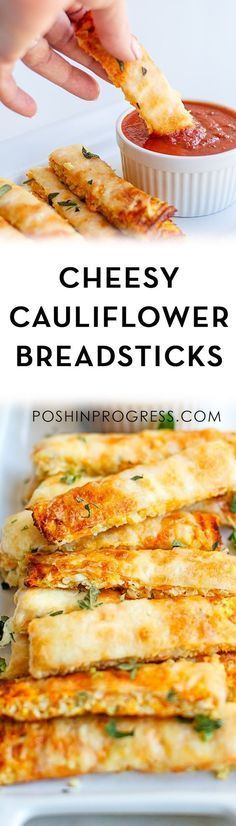 This three-ingredient cheesy cauliflower breadsticks recipe is low-carb, gluten-free and great for dinner using riced cauliflower. #glutenfree #lowcarb #vegetarian